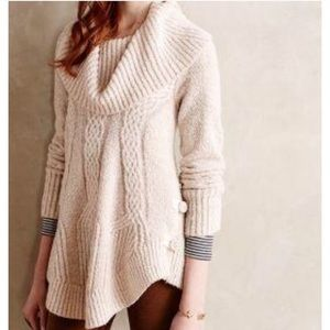 Anthropologie cream cable boucle pullover sweater